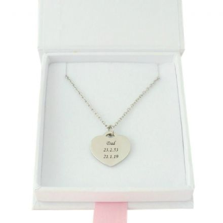 Engraved Heart Necklace in Pretty Gift Box